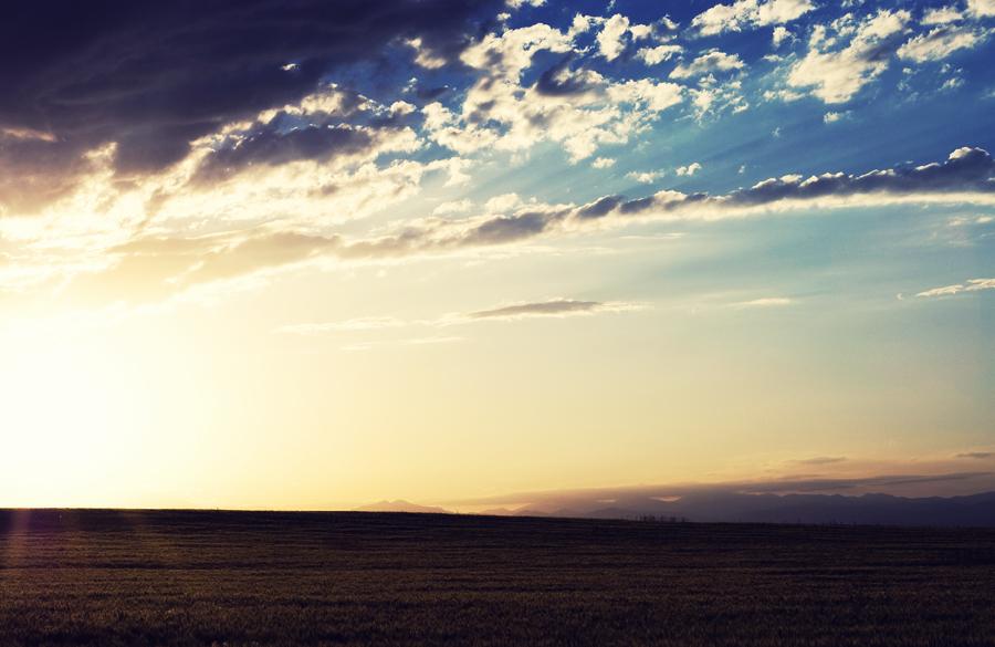 Sunset over Colorado plains