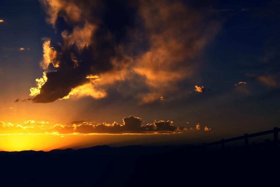 Dark Sunset with Orange Sky