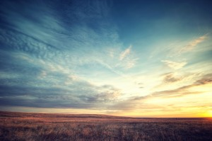 Sunrise over flat plains in Colorado