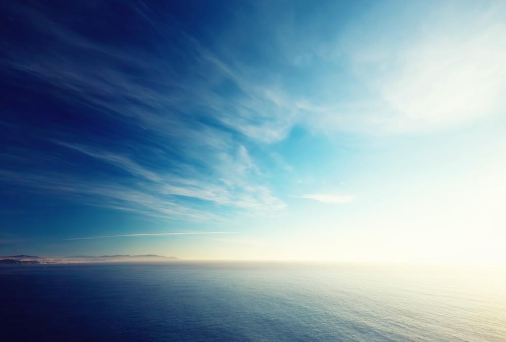 Blue and white ocean california