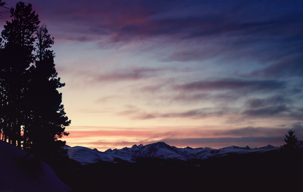 Dark Sunset Over the Mountains in Colorado