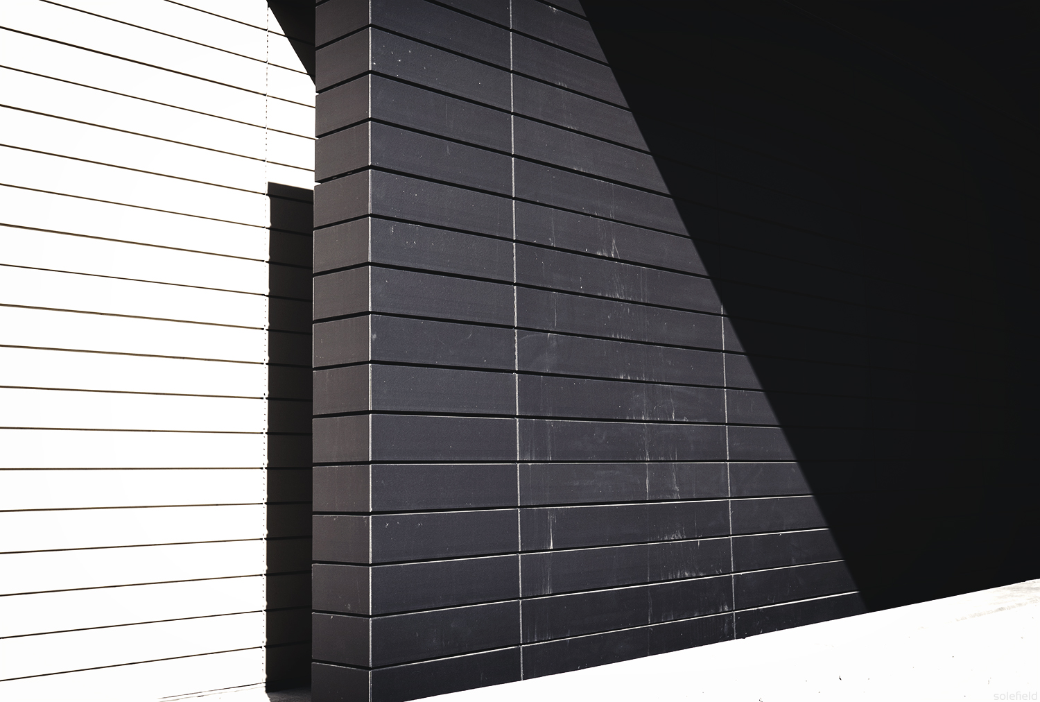 Black and White Wall in Shadow and Light