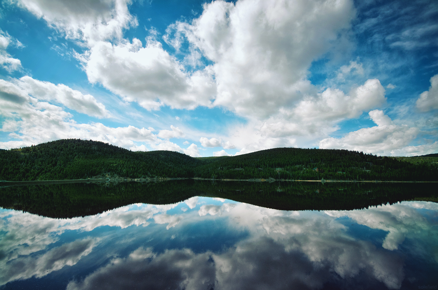 Reflection of clouds in lake