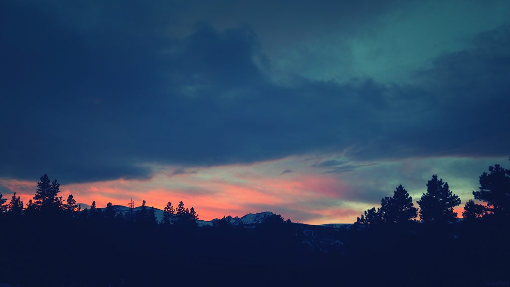 Pink and Blue Sunset in Mountains of Colorado