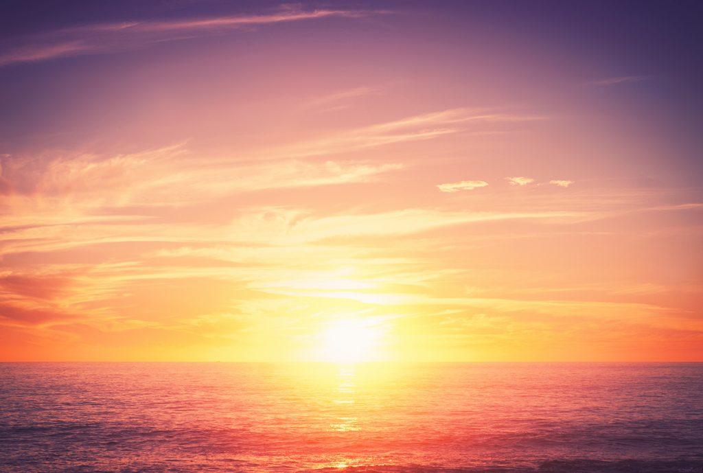 Bright Sunset Over Ocean