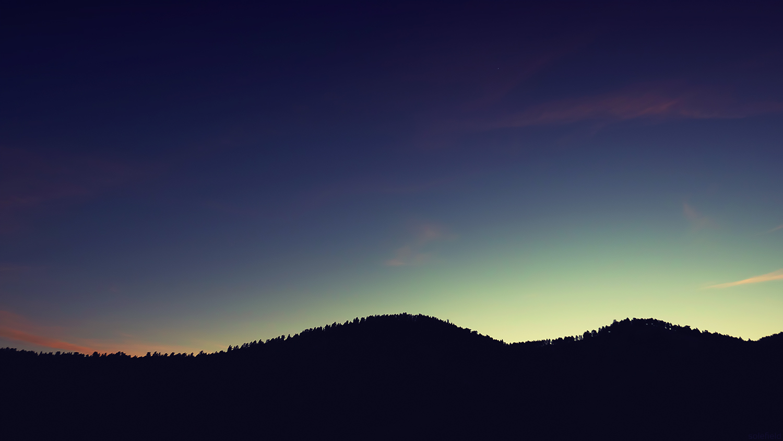Dark Silhouette Mountains Sunset