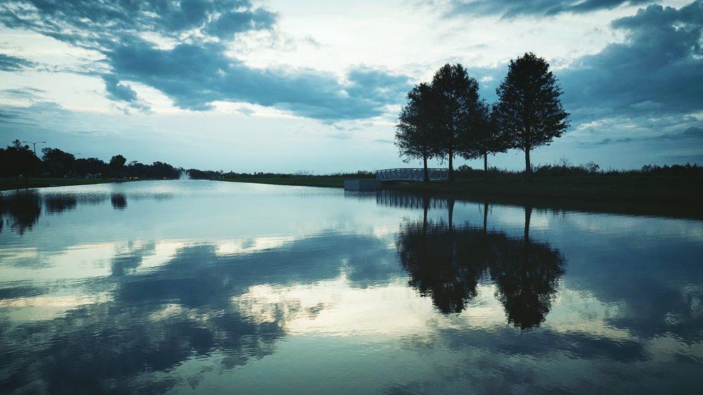 Blue reflecting sunset on a lake