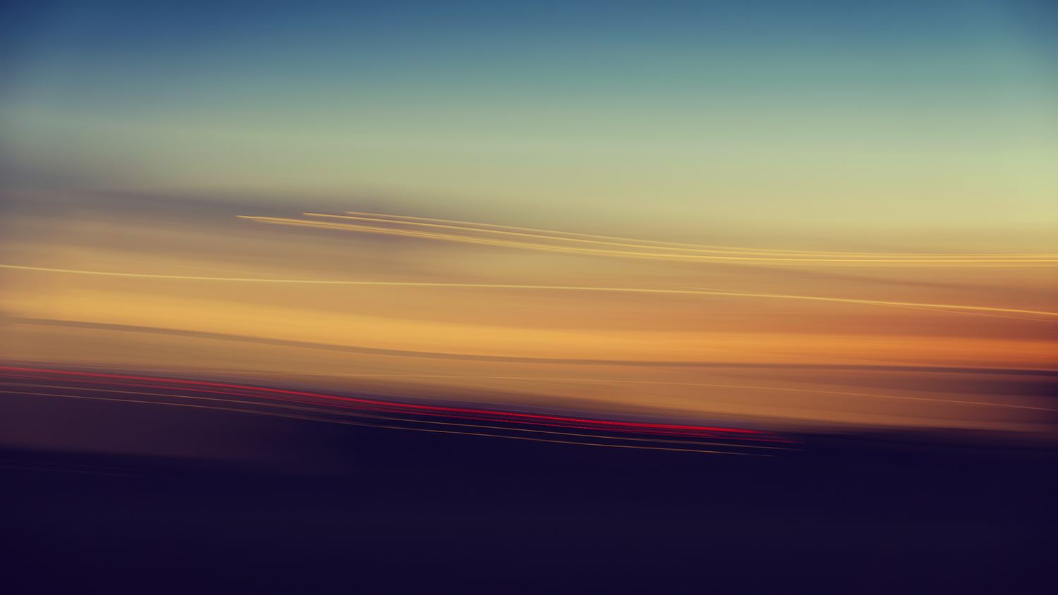 Abstract Sunset Lines in Blue and Yellow