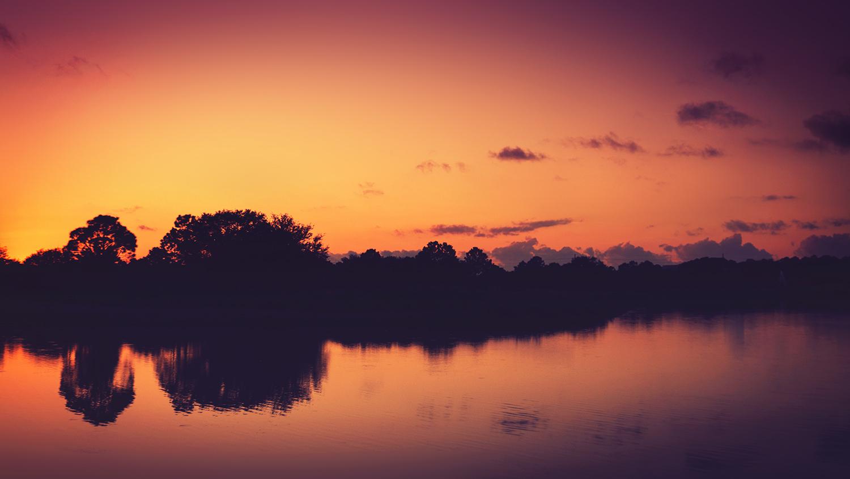 Pink and Orange sunset reflecting