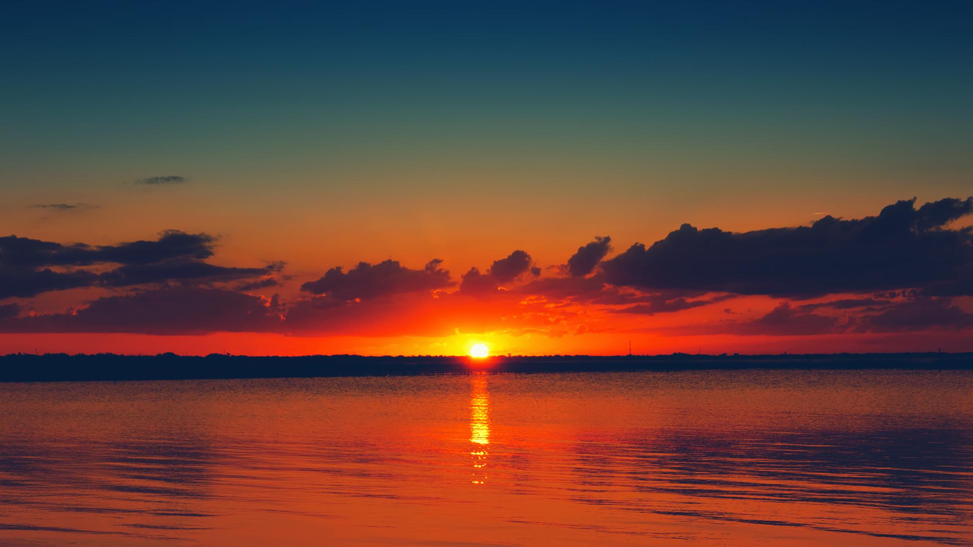 Orange and Blue Sunset in Florida