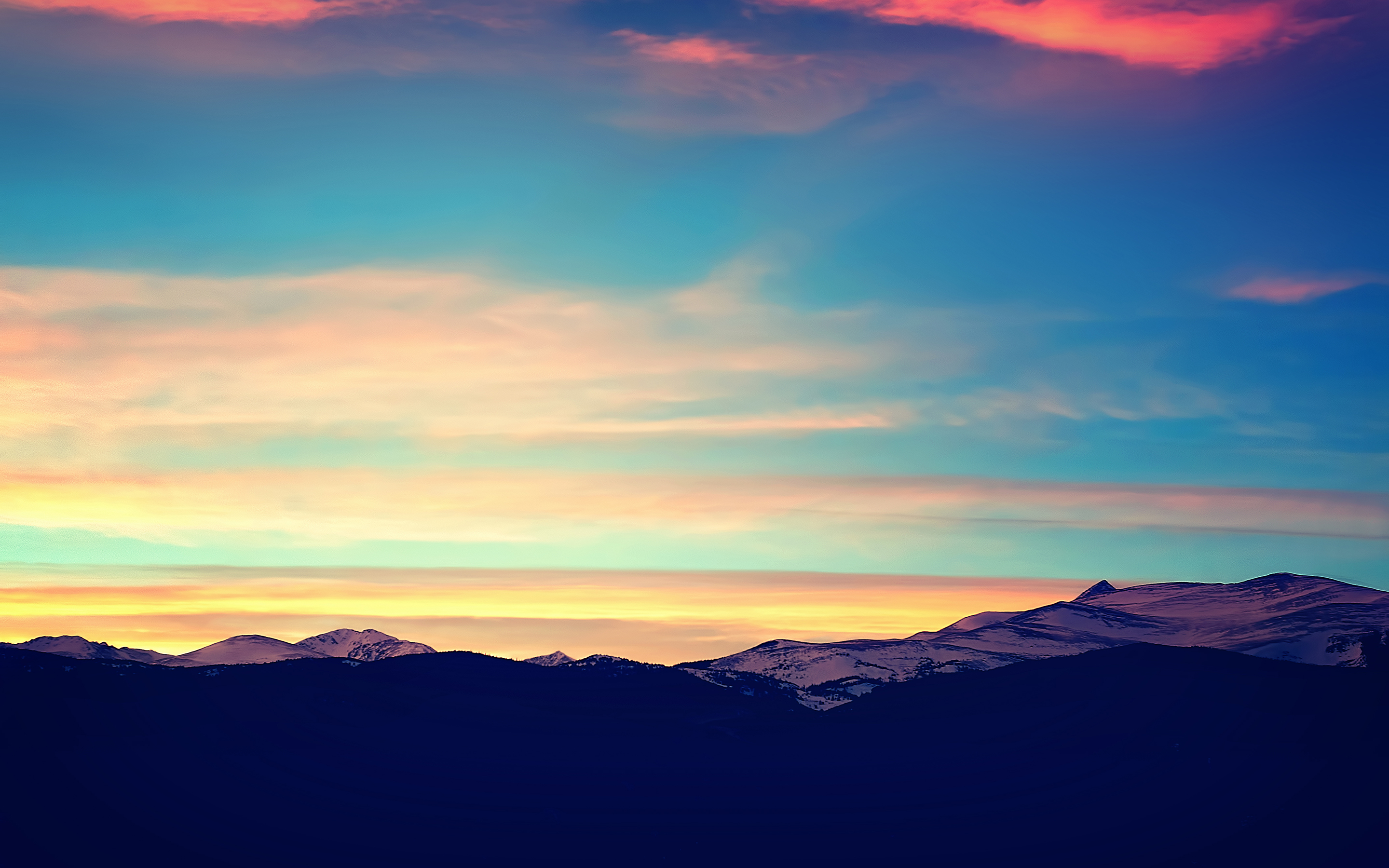 Sunset over the mountains in Colorado