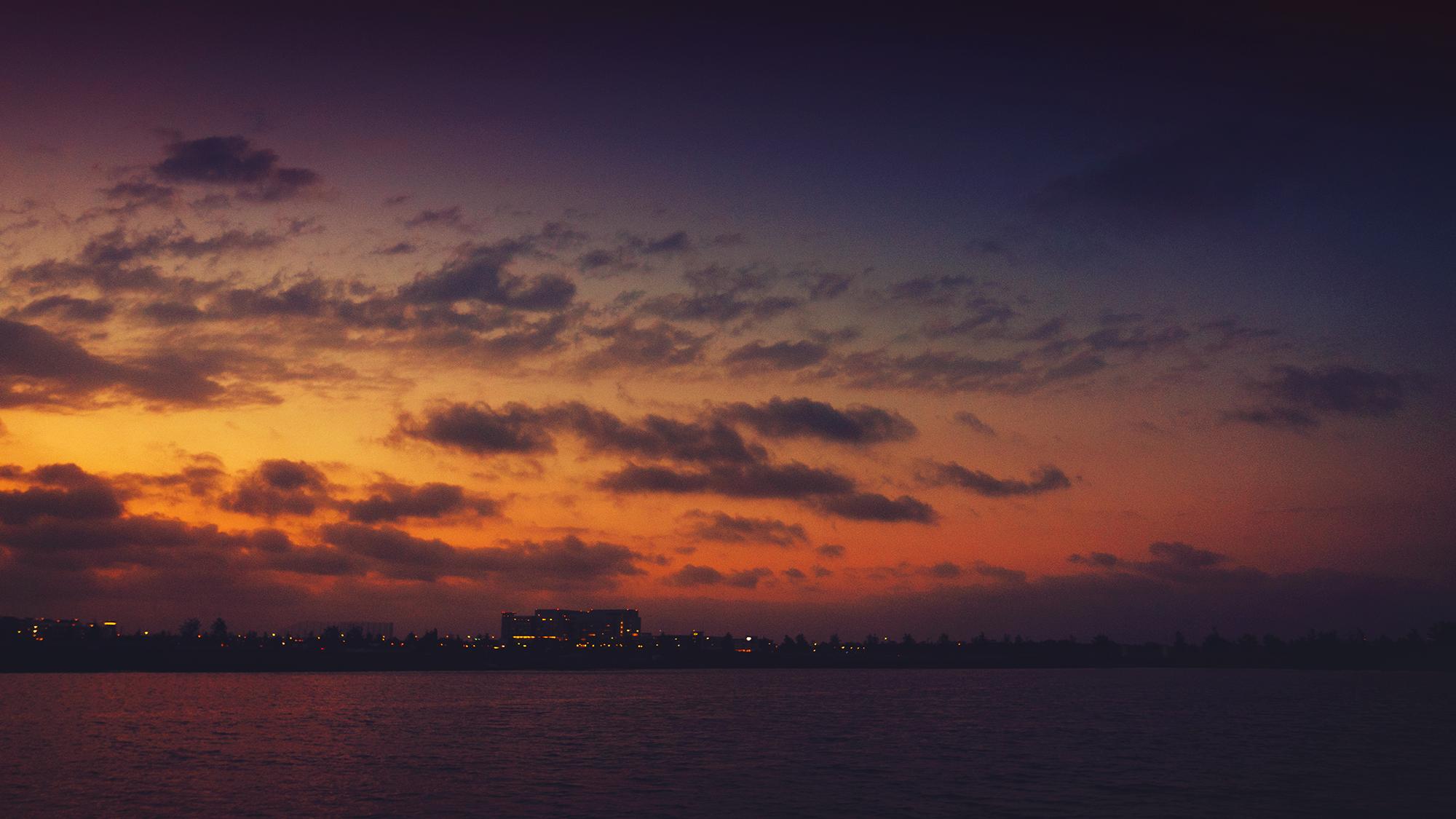 Dark Sunset with city lights