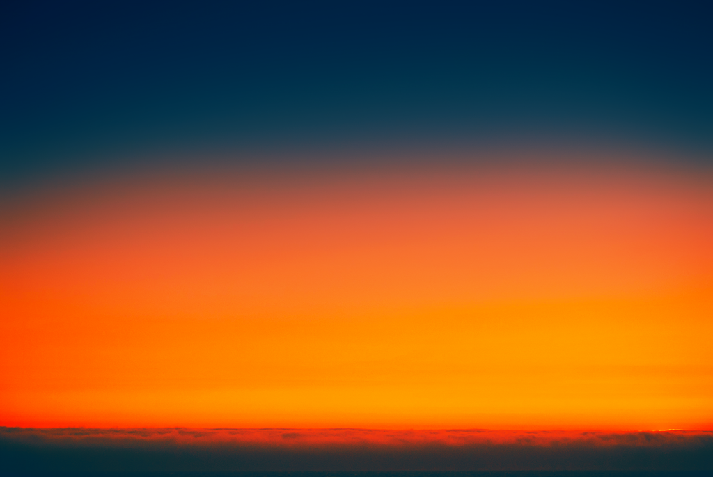 Orange and Blue Sunset over the ocean