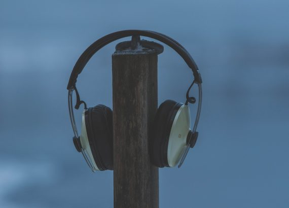 Headphones on a Post