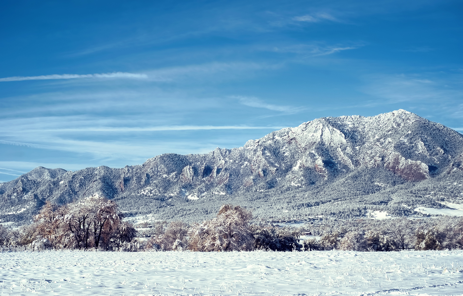 Snow Covered Flat Irons in Colorado